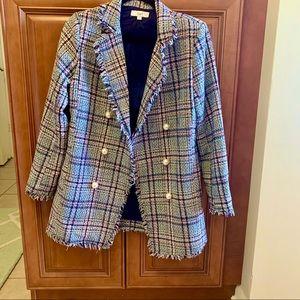 Ovi oversized tweed plaid blazer pearl buttons